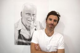 Dean Spinks with his Ted Cary portrait