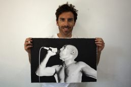 Artist Dean Spinks with his drawing of Tool frontman Maynard James Keenan