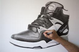Crosshatching on Reebok Pump drawing