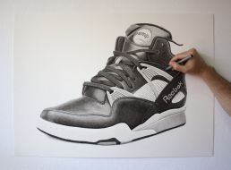 Crosshatching on Reebok Pump drawing