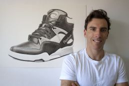 Artist Dean Spinks with Reebok Pump drawing