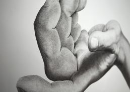 Macro shot of Dean Spinks' hand drawing