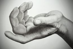 Giant crosshatching artwork of a hand