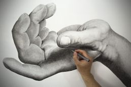 Detail shot of the giant hand drawing