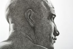 Black and white portrait of surfer Kelly Slater