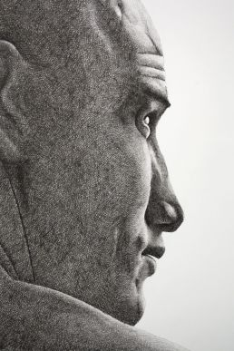 Crosshatching portrait of surfer Kelly Slater