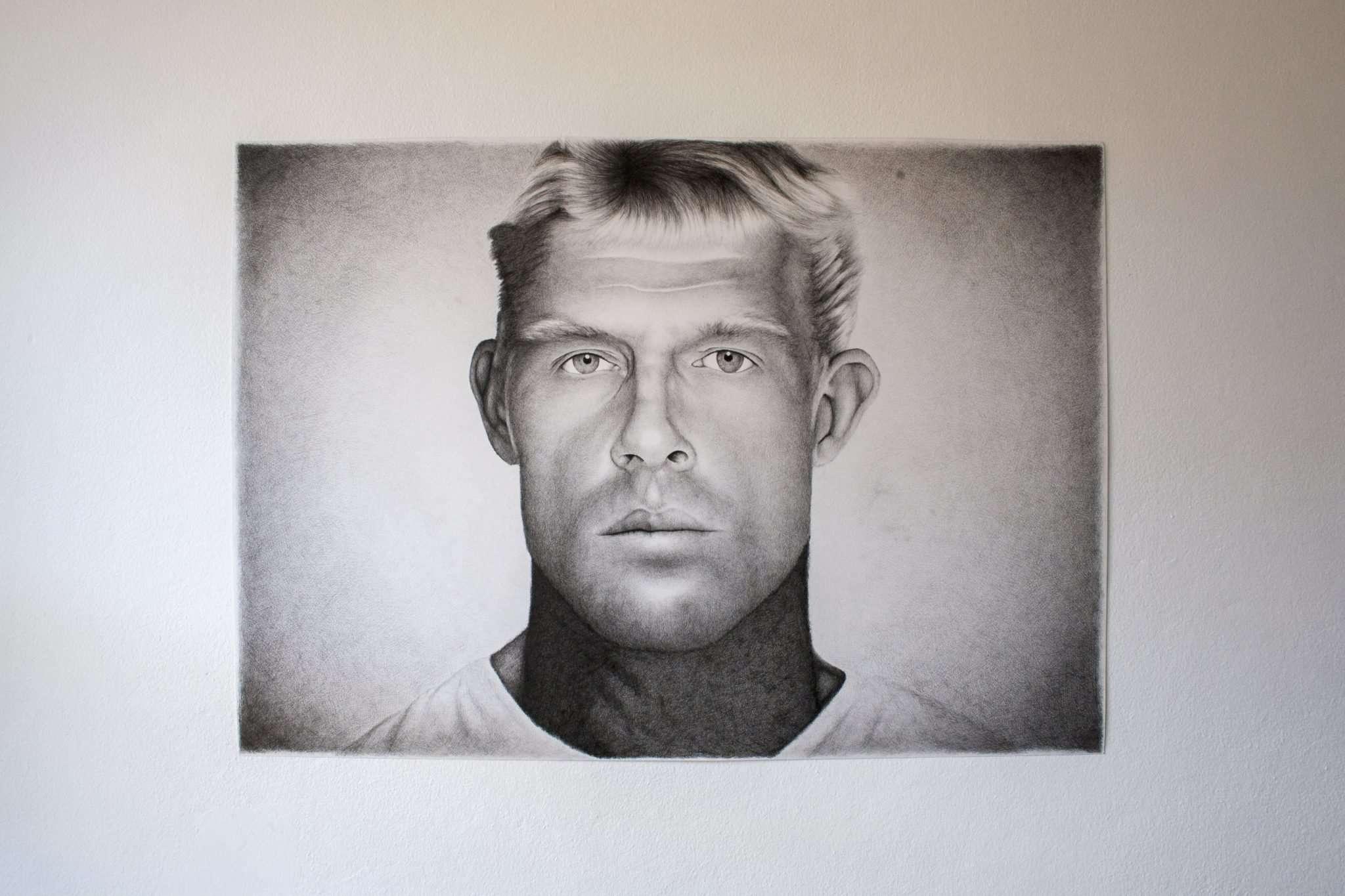 Mick Fanning portrait by artist Dean Spinks