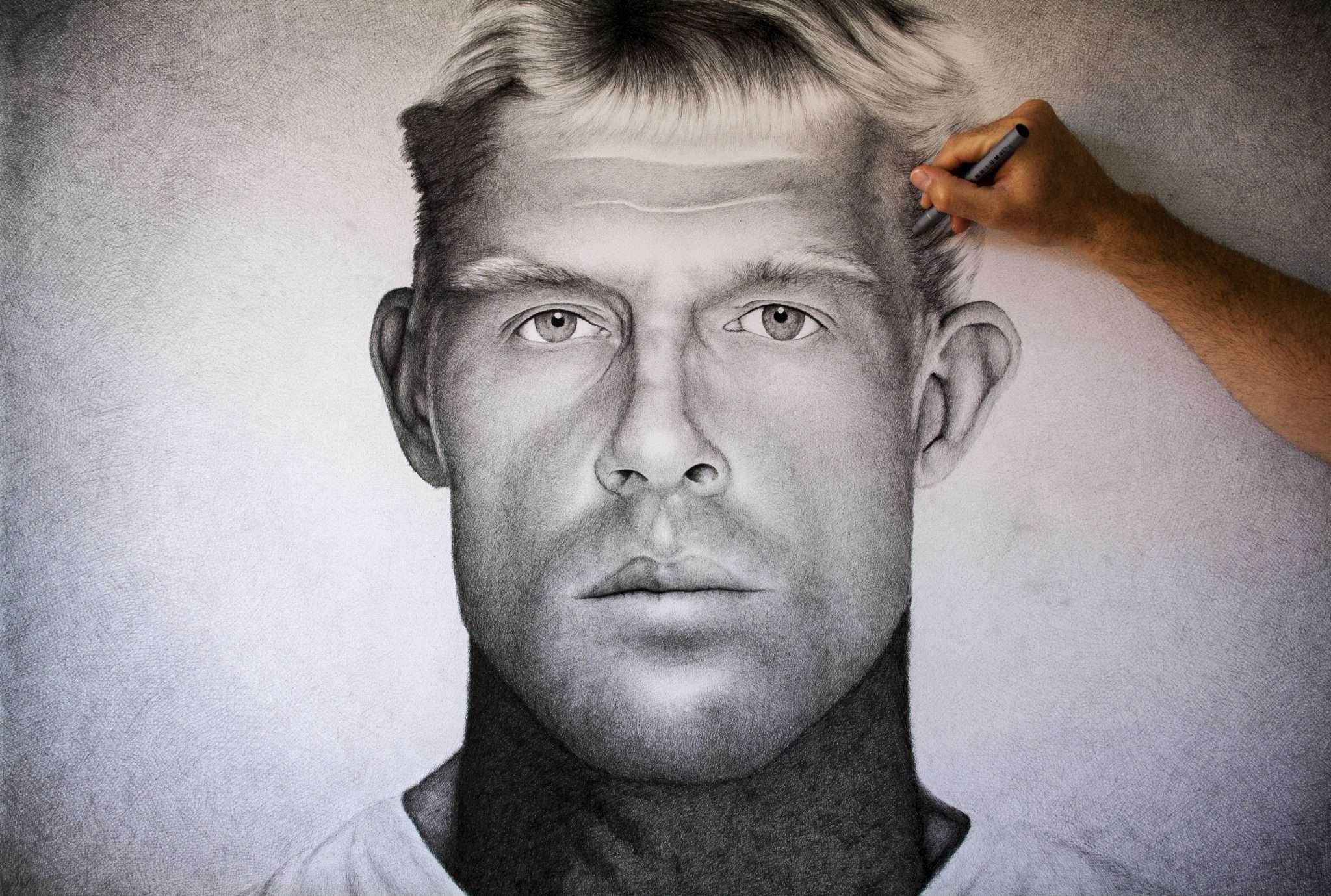 Mick Fanning crosshatching portrait by artist Dean Spinks