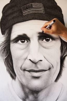Crosshatching drawing of skateboarder Rodney Mullen